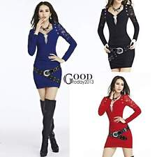 New Women Lace V-neck Long Sleeve Party Clubwear Cocktail Slim Mini Dress TXGT