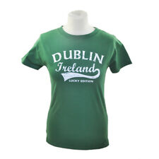 Ladies Fitted T-Shirt With Fame-Style Dublin Ireland Print, Sage Green Colour