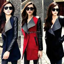 Women Warm Wool PU Leather Sleeve Long Coat Jacket Parka Trench Overcoat OO55