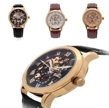 Men's Luxury Leather Automatic Mechanical Skeleton Stainless Steel  Wrist Watch