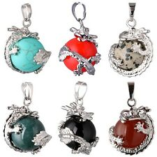 Lot Style Vogue Dragon Wrap Ball Bead Gemstone Natural Stone Pendant Fr Necklace