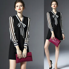 Spring Summer Graceful Womens Commuter OL Bowknot Striped Long Sleeve Mini Dress
