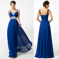 Sexy Beading Long Prom Bridesmaid Evening Dresses Formal Party Blue Ball Gown