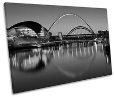 Newcastle Tyne Bridges River City B&W SINGLE CANVAS WALL ART Print Picture