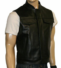 CLUB BIKER VEST MOTORCYCLE LEATHER KUTTE.HARLEY COWL black size S-7XL
