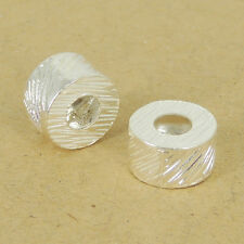 925 Sterling Silver Barrel Bead Seamless Jewelry Making 4.5mm Hole Size WSP419
