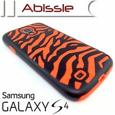 Durable Case Cover For Samsung Galaxy S4 SIV i9500 Orange/Black Zebra 2 Pce