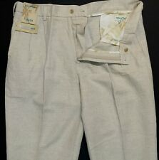 Caribbean Mens Linen Cotton Natural Pleat Front Casual Pants 34 36 38 40 42 NWT