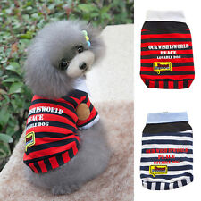 Small Dog Pet Shirt POLO Striped Vest Shirt Cat Puppy Summer Clothes Apparel Hot