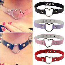 Women Punk Style Goth Rivet Heart Ring Leather Girl Collar Choker Necklace Hot