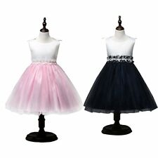 Kids Graceful Bowknot Tulle Girls Dresses Pageant Wedding Birthday Party Ball
