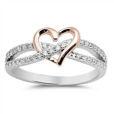 Sterling Silver 925 INFINITY HEART LOVE ROSEGOLD CLEAR CZ PROMISE RING SIZE 4-10