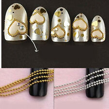 Hot Chic 3/5M Beads Line Chain For Acrylic Nail Art 3D False Tips DIY Decoration