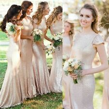 Sequins Long Formal Bridesmaid Ball Prom Dress Plus Size Party Cocktail Gown 12
