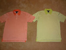 LOT (2) Brooks Brothers Golf Polo Shirts Sz Small Mens Orange Green Stripes NICE