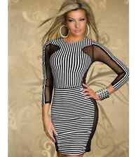Sexy Women's Striped Bandage Bodycon Evening Party Cocktail Club Short Mini Dres