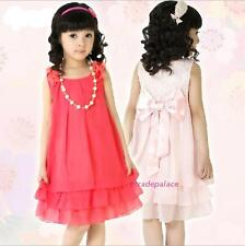 New 2016 Summer Kids Young Princess Pearl Bow Sweet Girls Sleeveless Dress 4-12Y