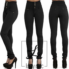New Women Ladies Black High Waist Trousers Skinny Fit Jeans Size 6 8 10 12 14