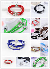 Multilayer Wrap Wristband Cuff Punk Magnetic Rhinestone Buckle Bracelet Bangle