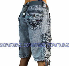 AFFLICTION Silver Stone 110WS109 Men`s New Charcoal Cargo Shorts