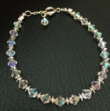Sparkly Crystal Clear Ab Bracelet Various Sizes Handmade Silver Plated