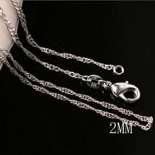 10pcs/Lot 2mm 925 Sterling Silver Plated Wave Link Chains Necklace 18/24inch New
