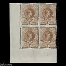 Swaziland 1945 (MNH) 2d Yellow-Brown, perf 13½ x 14, plate 1 block x 4. SG31a
