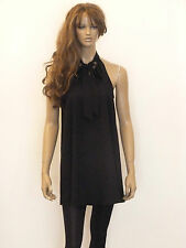 New womens black halterneck pussy bow detail swing tunic dress size 6-20