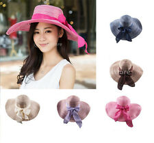 Fashion Women's Wide Brim Summer Beach Sun Hat Straw Floppy Bowknot Bohemia Cap