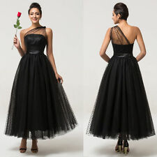 Black Tea Length Wedding Bridesmaids Evening Prom Dress Party Cocktail Gowns