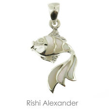 925 Sterling Silver Mother of Pearl Fish Pendant or Necklace