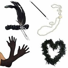 1920s Flapper Kit Feather Boa Headband Pearl Necklace Cigarette Holder Gloves