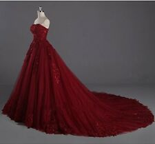 Red Sleeveless Tulle Applique Lace A-Line Wedding Dress Bridal Gown Custom size