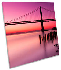 Bay Bridge San Francisco Sunset SQUARE CANVAS WALL ART Picture Print