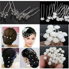 18pcs Wedding Bridal Women Prom Crystal Pearl Flower Hair Pin Clips Accessories