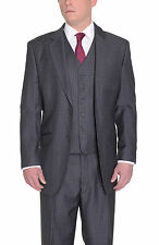 Classic Fit Charcoal Gray Check Two Button Three Piece Super 150's Wool Suit