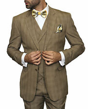 Mens Brown Tan Plaid Three Piece Two Button Wool Suit