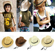 Chic Children Kid Boys Cowboy Straw Hat Western Outdoor Summer Sun Cap Wide Brim