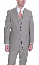 Michael Kors Modern Fit Tan Stepweave Three Piece Wool Suit
