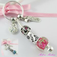 European Bead Mothers Day Love Mum Charm Keychain Keyring Select Colour