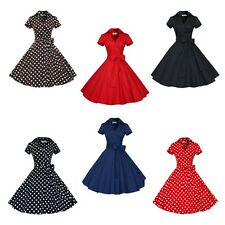 Women Ladies Chic Polka Dots Evening Party Cocktail Pinup Rockabilly Swing Dress