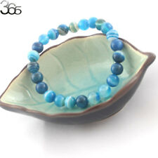 8mm Natural Gemstone Round Blue Banded Agate Onyx Stretchy Bracelet 7-8.5inch