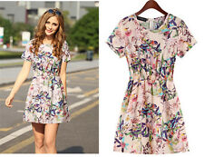 Summer New Women's Fashion Printed Floral Dress Short-sleeved Skirt Clothing