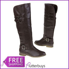 Womens Dark Brown Boots Knee High Flat Strap and Buckle Detail Ladies Sizes