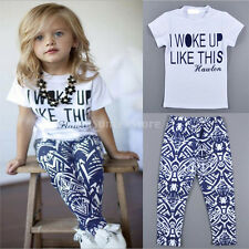 Toddler Kids Baby Girls Outfit Clothes T-shirt Tops+Pants Trousers 2PCS Set 2-7Y