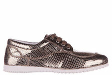 HOGAN WOMEN'S CLASSIC LEATHER LACE UP LACED FORMAL SHOES H258 DERBY GOLD  5EA