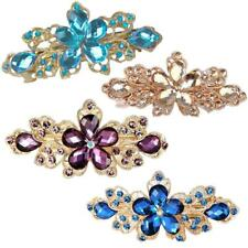 Fashion Women Jewelry Crystal Rhinestone Flower Hair Barrette Clip Hairpin Gift