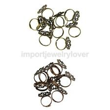 10 Pcs Vintage Ring Base Adjustable Brass Blank Filigree Flower Base Element