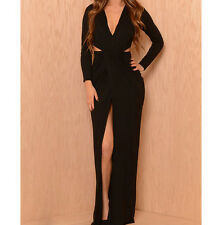 Solid Long Sleeves V Neck Floor-length Jersey draped Women Cut Out Dress 4681