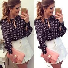 Fashion Women Polka Dots Chiffon Cut O-Neck Long Sleeve Blouses Shirts Tops Tee